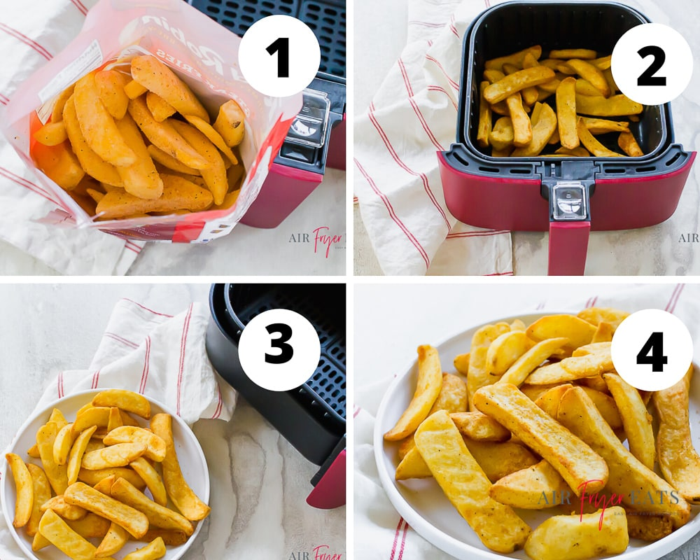 Four picture collage showing steps to make air fryer steak fries. PIc one is an overhead shot looking down into the open back of steak fries. Pic two is the fries in a red and black air fryer basket. Pic three is of the cooked fries on a white plate and air fryer basket angled to the top right. Pic four is a close up shot of the fries on a white plate.