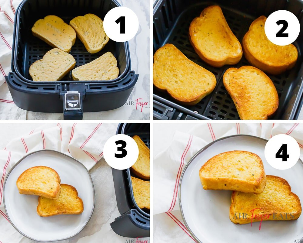 Collage of four pictures showing how to make air fryer texas toast. Put toast into the air fryer basket. Flip the toast mid way through cooking, then plate and enjoy!