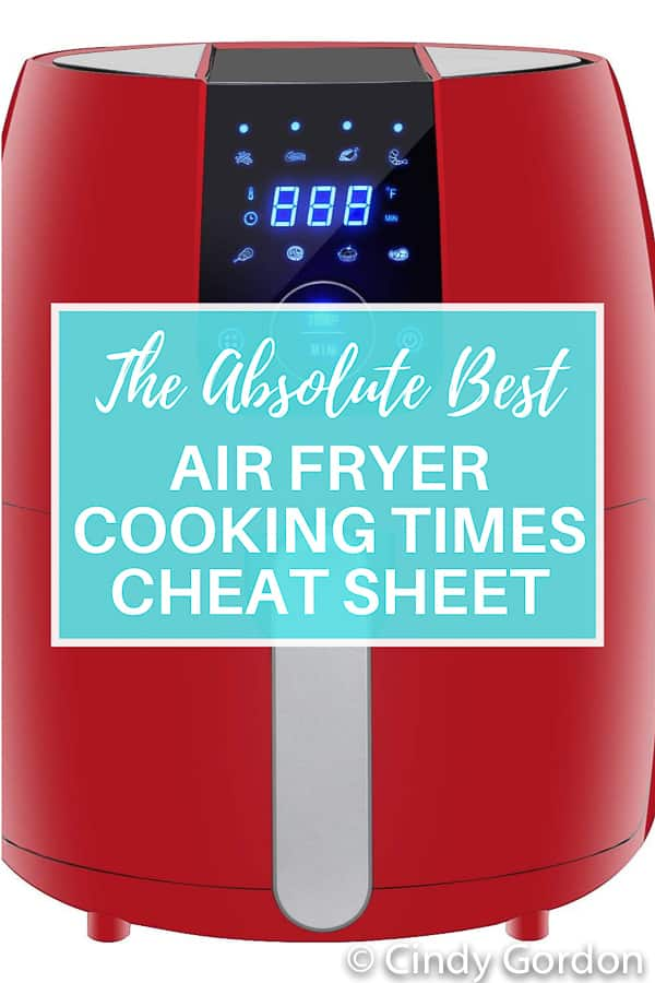 If you are looking for general air fryer cooking times, you are in the right place. We have created a downloadable air fryer cheat sheet to help you! This is the absolute best conversion chart for Air Fryer Cooking Times. We give temp/times for all types of food! This is a complete list for air fryer cooking! #airfryercookingtimes #cookingtime #cheatsheet via @vegetarianmamma