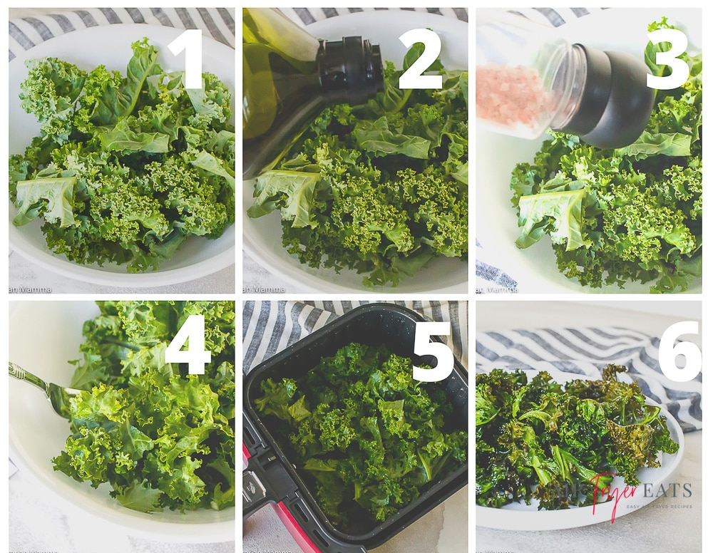 steps to make air fryer kale chips