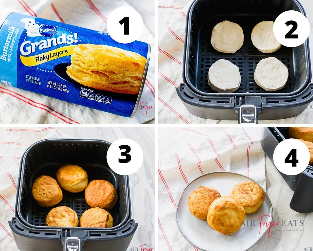 collage picture of 4 pictures showing how to cook grands flaky layers biscuits in the air fryer