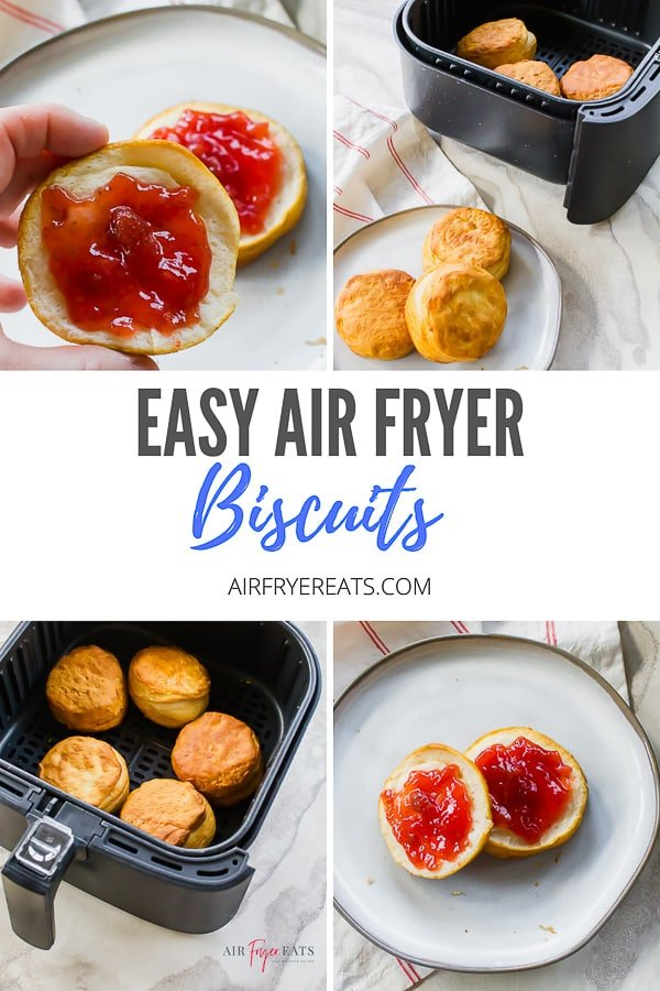 If you love buttermilk biscuits, you are going to love Air Fryer Biscuits. These canned and refrigerated biscuits come out golden brown and delicious. #airfryerbaking #airfryerbiscuits via @vegetarianmamma