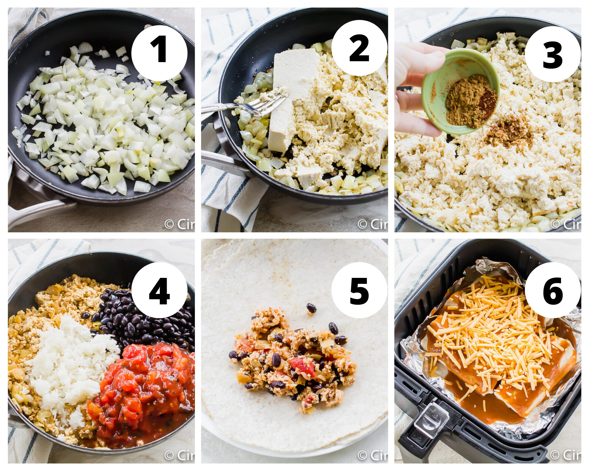 steps to make vegetarian enchiladas in an air fryer basket