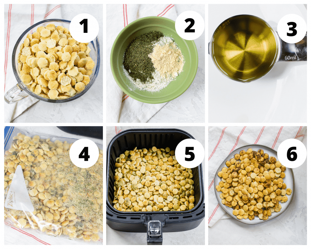 6 picture collage showing the steps to make air fryer ranch oyster crackers. Mix the crackers with seasoning and oil. Air fry and enjoy.