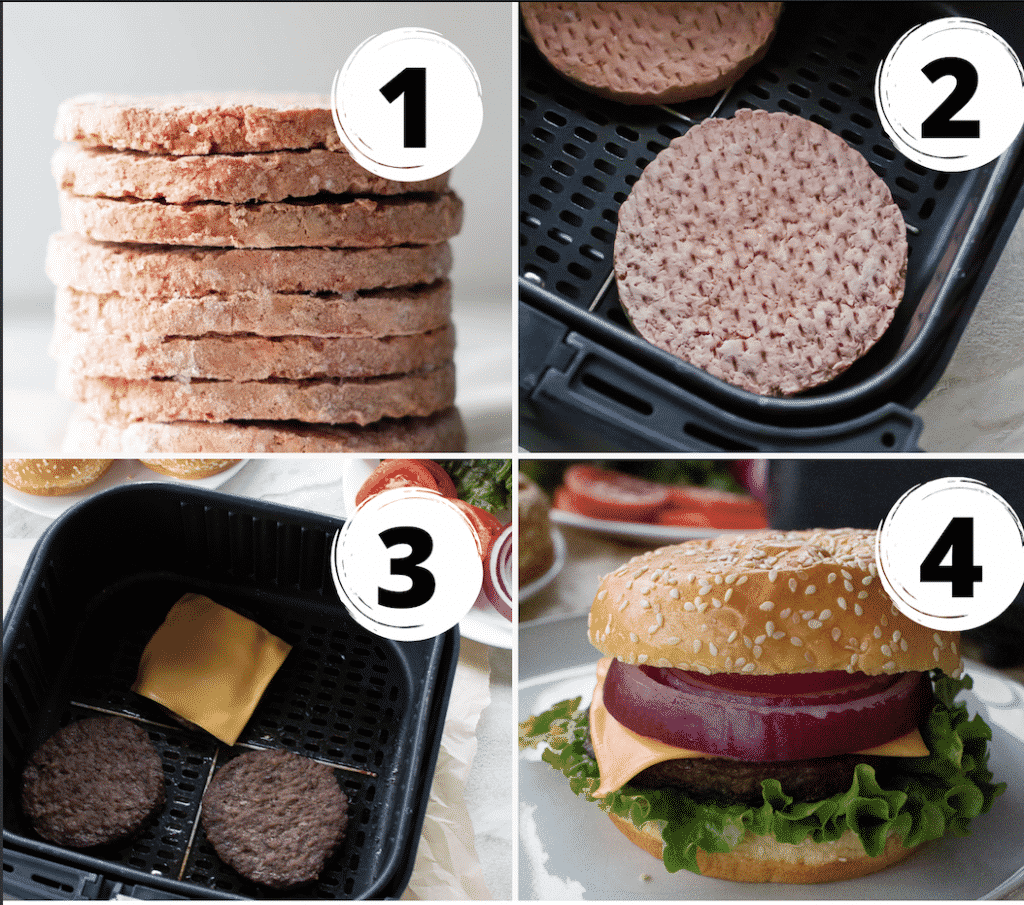 frozen burger in air fryer collage of 4 pictures. 1 raw burger stacked 2 burger in black air fryer basket 3 has 3 burgers in black basket one with cheese and picture 4 is burger with bun, cheese onion and lettuce