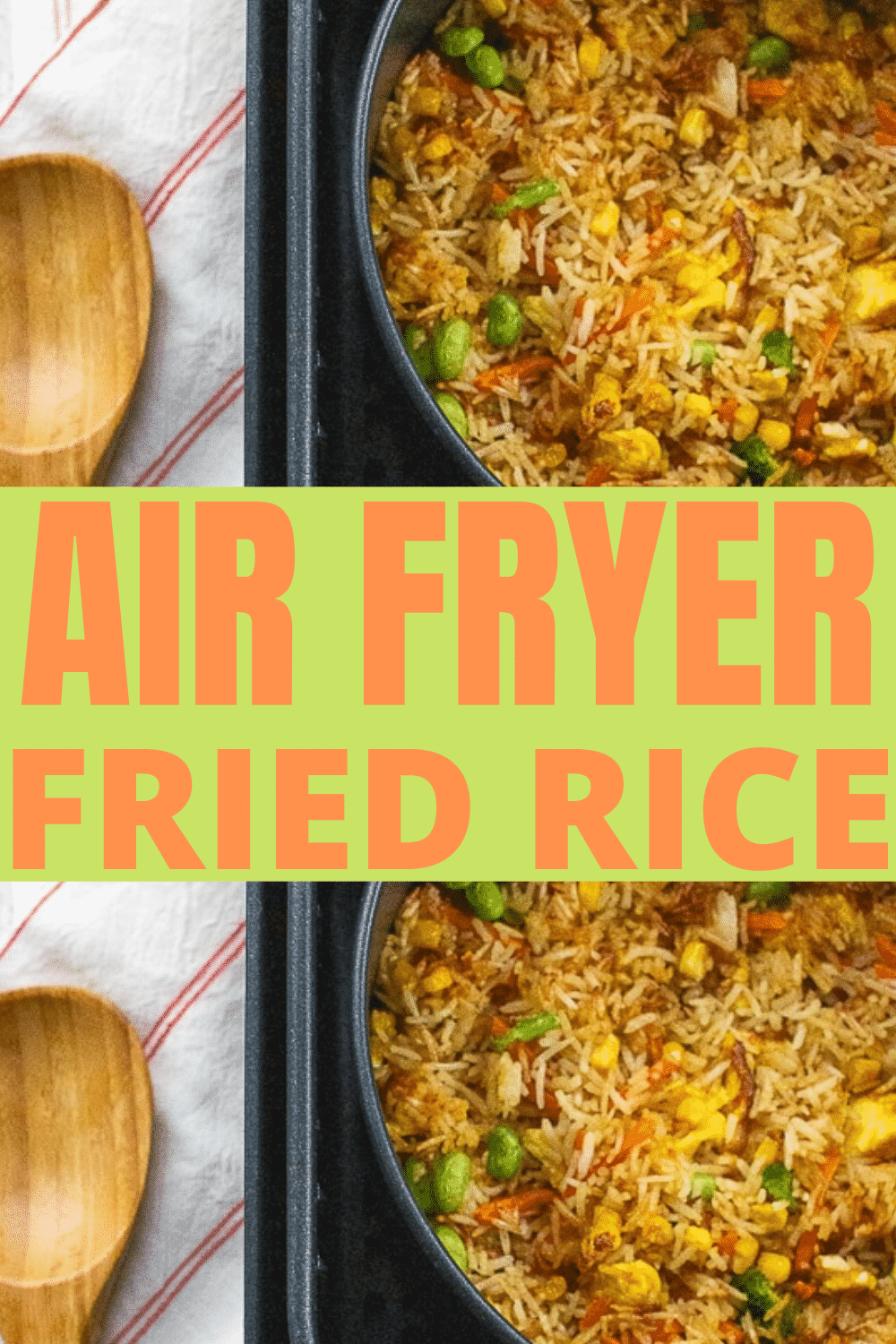 This comforting Air Fryer Fried Rice is a perfect quick dish you can make with whatever proteins and veggies you have around the house! #friedrice #airfryerrice via @vegetarianmamma