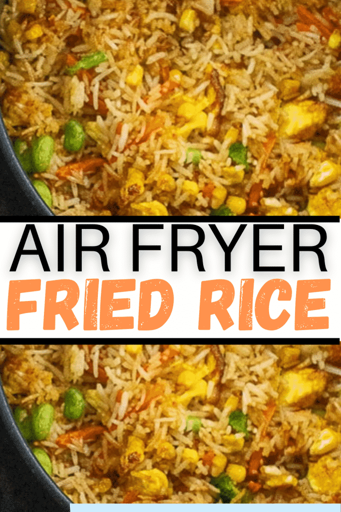 """AIR FRYER FRIED RICE CLOSE UP SHOT OF CRUSTED BROWN RICE WITH WORDS """"AIR FRYER FRIED RICE"""""""