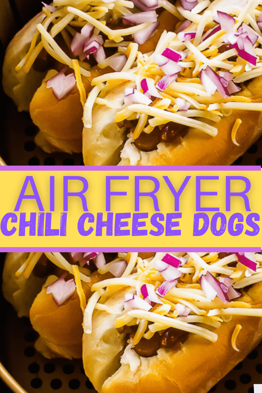 These Air Fryer Chili Cheese Dogs are quick to make, easy to assemble, and perfect for feeding a crowd! You'll dream of ballpark days with these chili dogs. #partyfood #chilicheesedogs #airfryerchilidogs via @vegetarianmamma