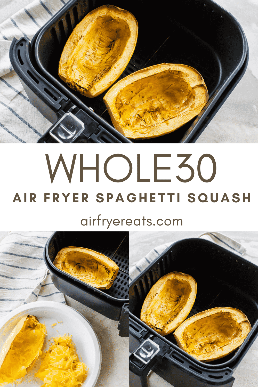 This Air Fryer Spaghetti Squash is just ONE ingredient and can be the base for so many main or side dishes! Make this your own a million different ways with seasonings, proteins, and sauces! #spaghettisquash #airfryerspaghettisquash #vegan via @vegetarianmamma