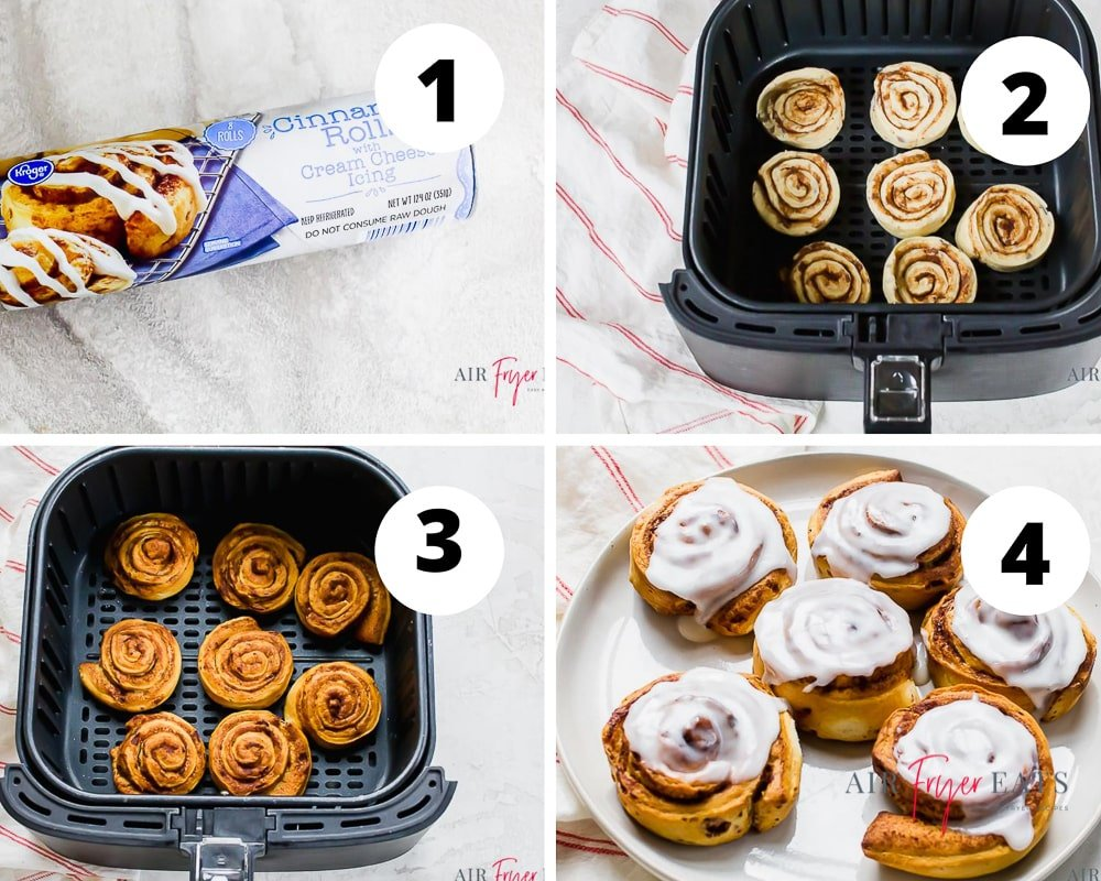 collage of four pictures showing how to make cinnamon rolls in the air fryer