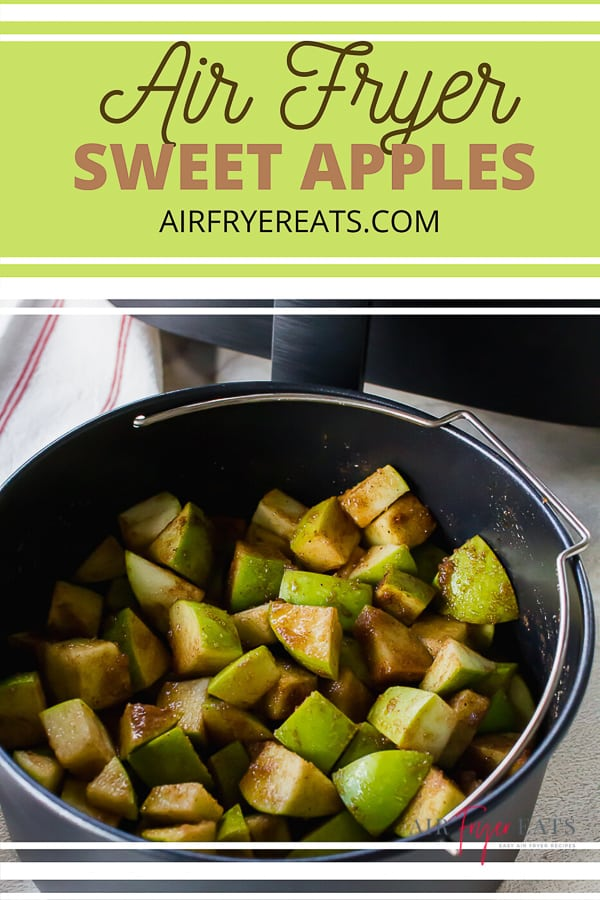 These seasoned #AirFryer Sweet Apples are an amazing healthier dessert you can make in less than 20 minutes! The perfect #glutenfree and #dairyfree dessert! #bakedapples via @vegetarianmamma