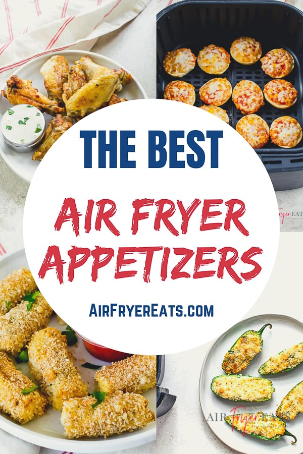 Air Fryer Appetizers are a simple way to feed your family or a crowd! These air fryer recipes are easy to make, cook quickly and taste delicious! #airfryerappetizers #airfryerrecipes via @vegetarianmamma