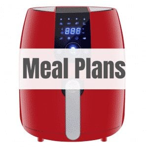 red air fryer with text meal plans