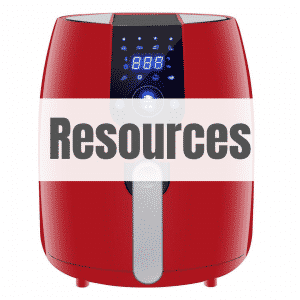 red air fryer with text resources
