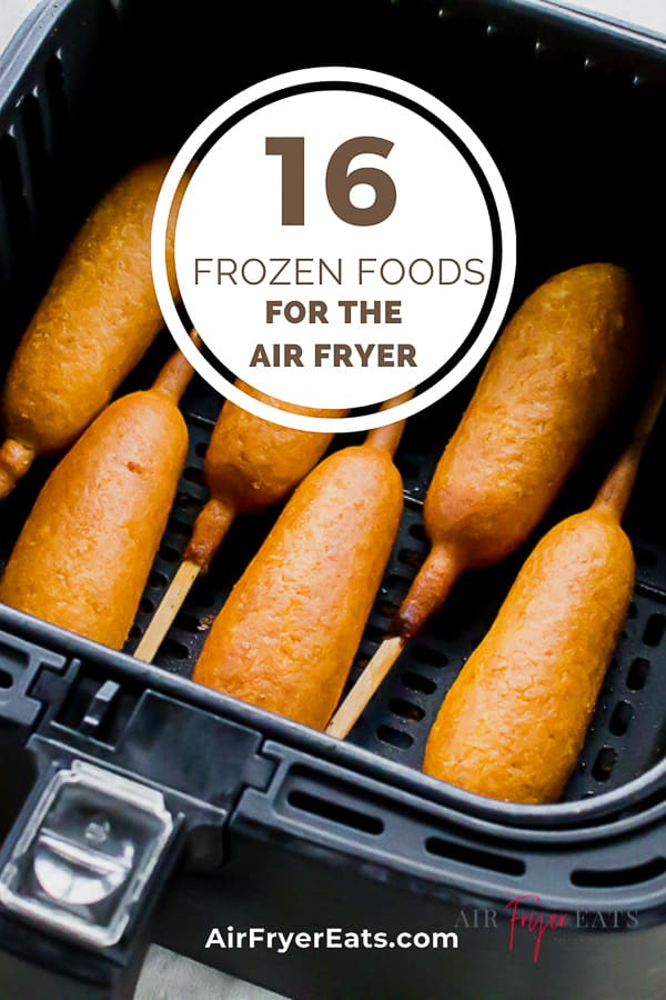corn dogs in black air fryer basket