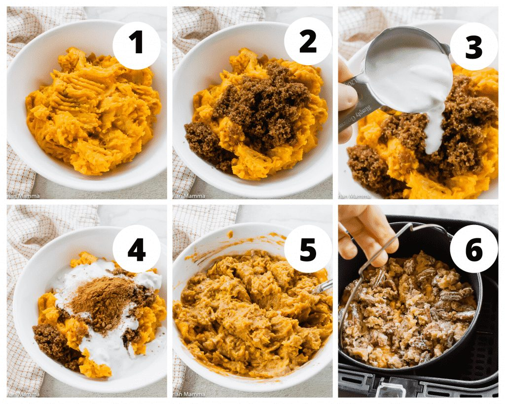 collage picture of how to make air fryer sweet potato casserole
