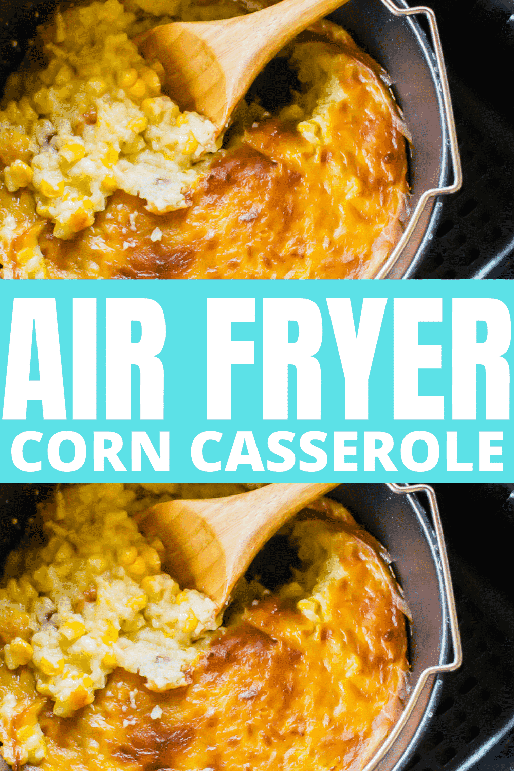 This air fryer creamed corn casserole is a simple, no-fail recipes that tastes just like Grandma used to make. This corn casserole is perfect for the holidays or your next family dinner. #airfryer #sidedish #holidaydish #creamedcorn #corncasserole via @vegetarianmamma