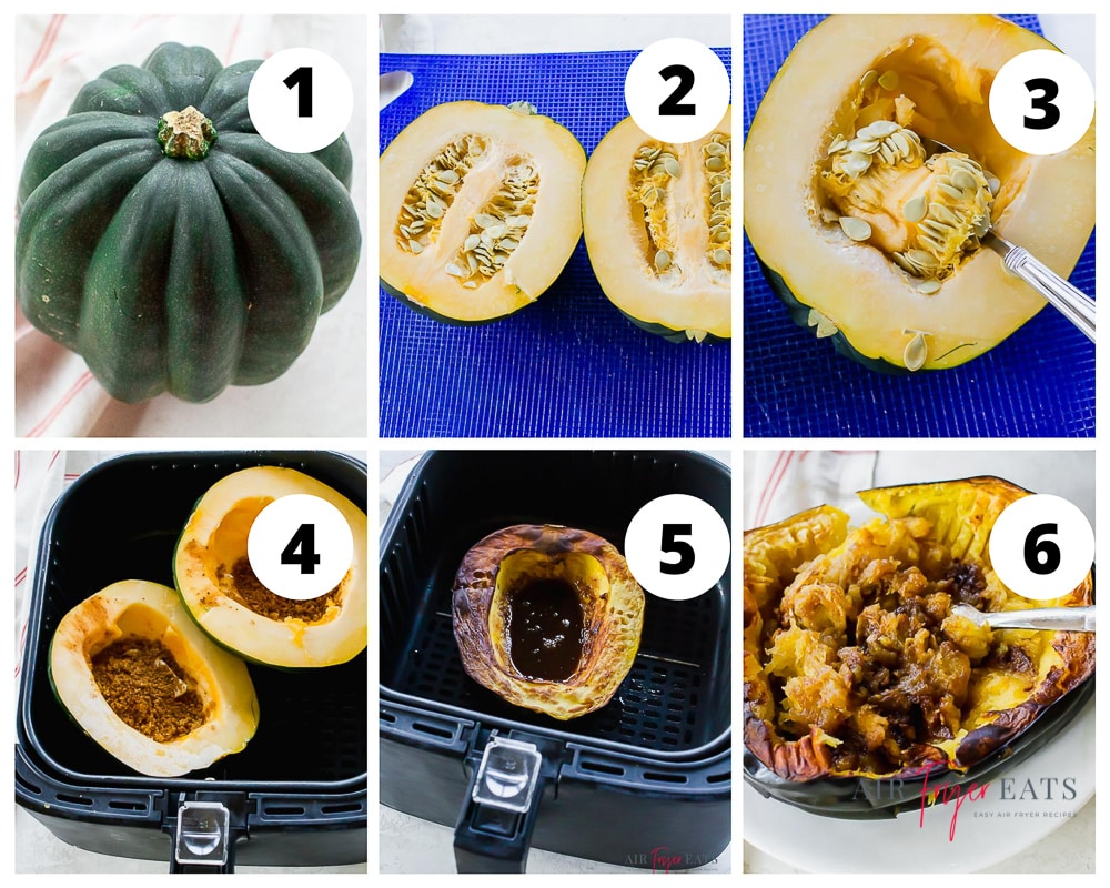 6 picture collage of steps to make air fryer acorn squash.  Wash squash, cut in half, remove sides, place in air fryer with brown sugar and butter, cook, then mash.