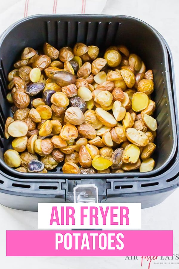 You might be wondering how to cook air fryer potatoes. Cooking potatoes in your air fryer is quick, simple and oh so delicious! #airfryerpotatoes #potatoesinairfryer via @vegetarianmamma