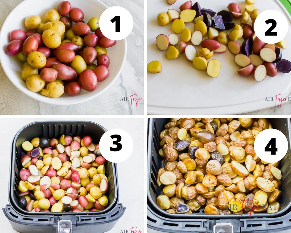 four picture collage showing how to make air fryer potatoes