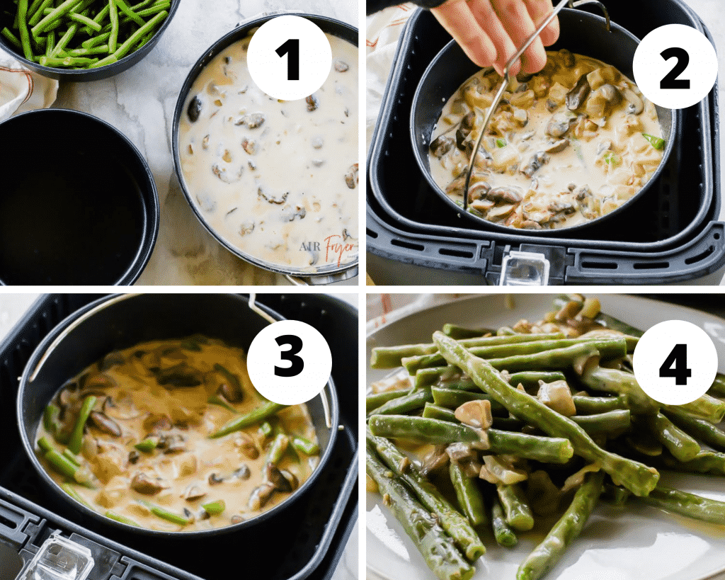 4 picture image collage of the steps to make air fryer green bean casserole step one make the sauce, step two combine with beans and put into pot, step three air fryer, step 4 eat