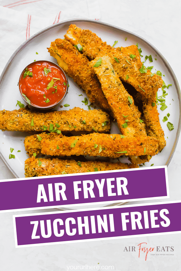 Air Fryer Zucchini Fries are a quick and easy healthy side dish! A few basic pantry ingredients turns your fresh zucchini into delicious, crunchy fries. #vegetarian #airfryer #zucchinifries via @vegetarianmamma