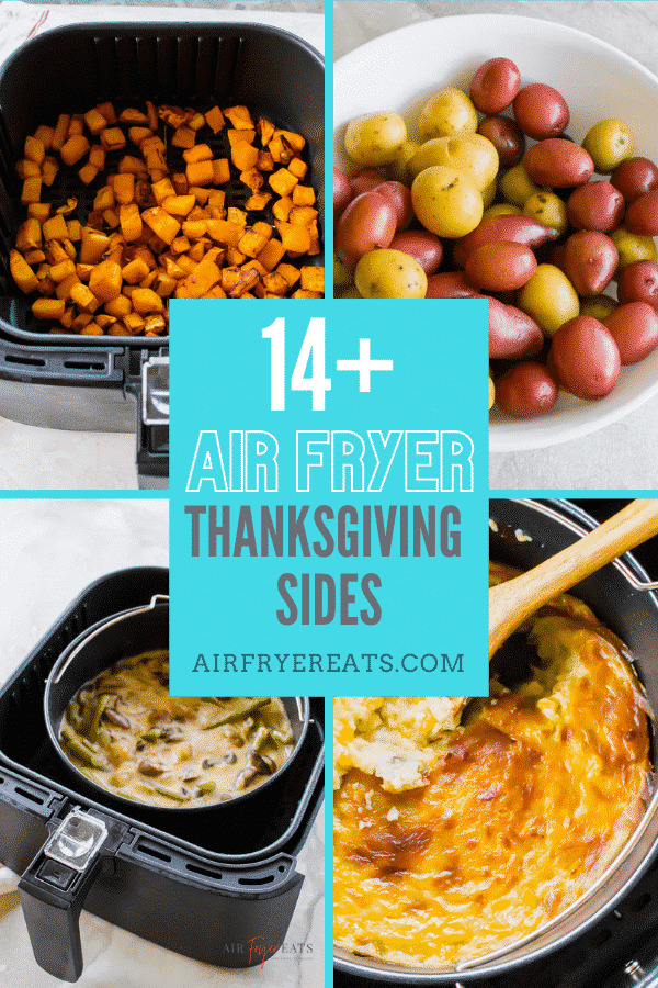 Over 14 mouthwatering air fryer thanksgiving side dish recipes! Use your air fryer to help you cook on this busy day! #airfryer #airfryersides #airfryerthanksgiving via @vegetarianmamma