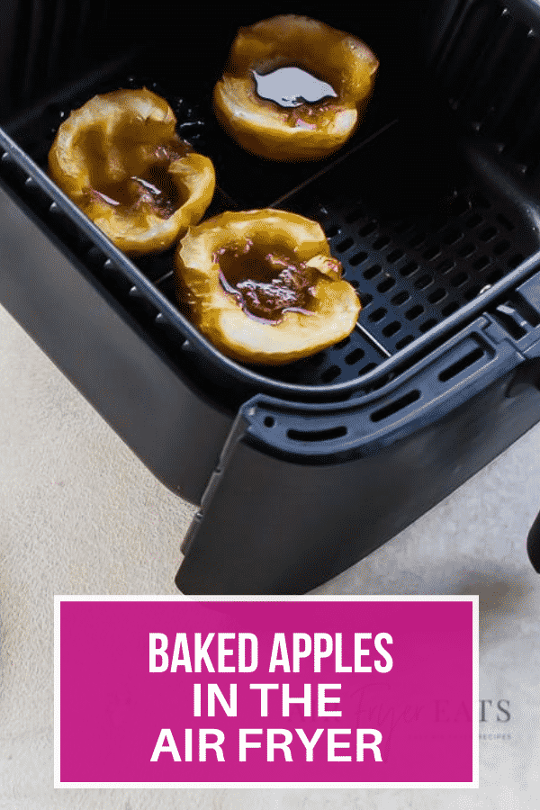 Air Fryer Spiced Apples are a delicious sweet dessert your entire family will love. Cinnamon, raisins, maple syrup and pecans come together to make this mouthwatering dessert. #spicedapples #airfryerapples #airfryerdessert via @vegetarianmamma