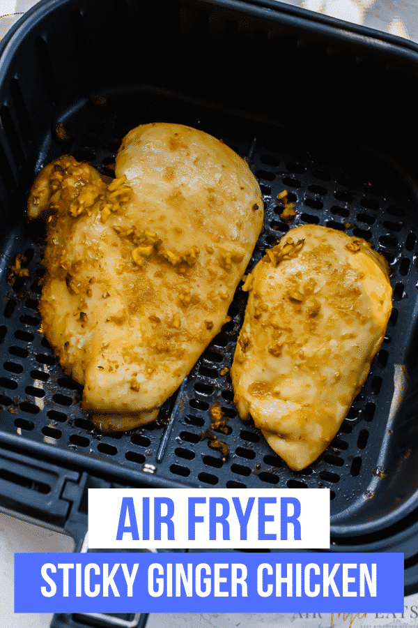 Air Fryer Sticky Ginger Chicken is just four ingredients! This simple recipe is packed with flavor from the homemade Asian-inspired marinade! #simpledinner #asian #chicken via @vegetarianmamma