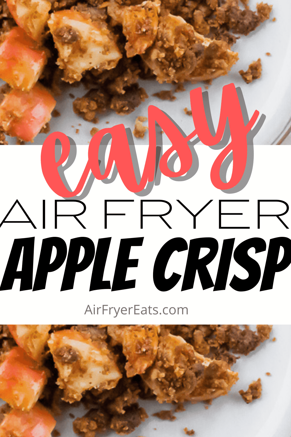 This simple yet delicious Air Fryer Apple Crisp is the perfect holiday dessert! The crunchy oat topping and sweet cooked apple filling goes great on every table. #applecrisp #airfryerdessert via @vegetarianmamma