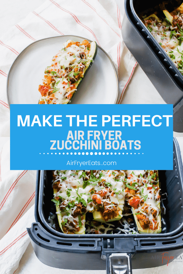 Air Fryer Zucchini Boats are a quick and easy meal with tons of fresh flavor! Great for #keto and low-carb, too! #vegetarian via @vegetarianmamma