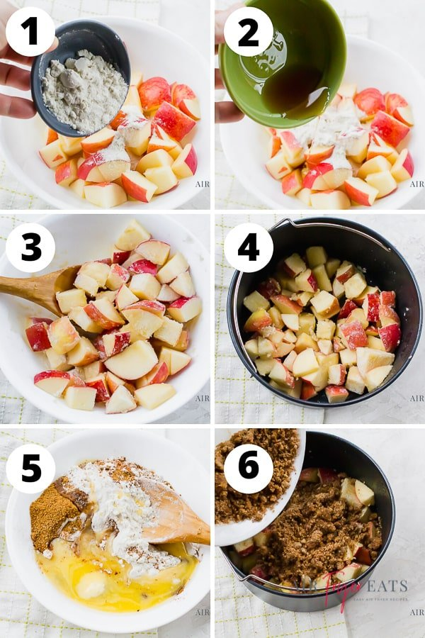 vertical collage picture showing the six steps to make air fryer apple crisp