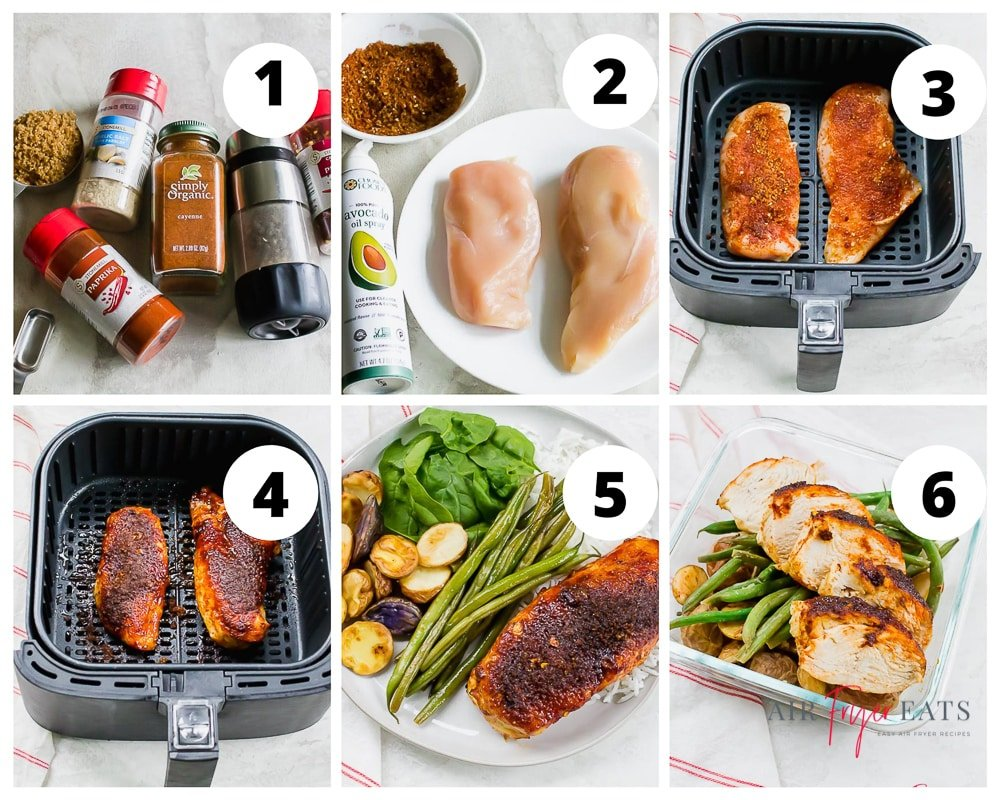 Collage of steps to make Sweet and Spicy Chicken