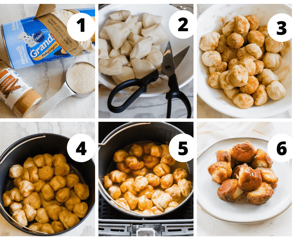 Steps to make monkey bread with biscuit dough in the air fryer