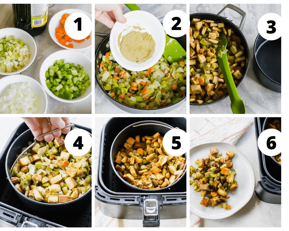 collage of 6 pictures showing air fryer stuffing directions