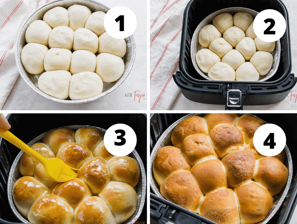 collage of 4 pictures showing the step in how to make frozen rolls in the air fryer. Let the rolls rise, air fryer, slather in butter and enjoy