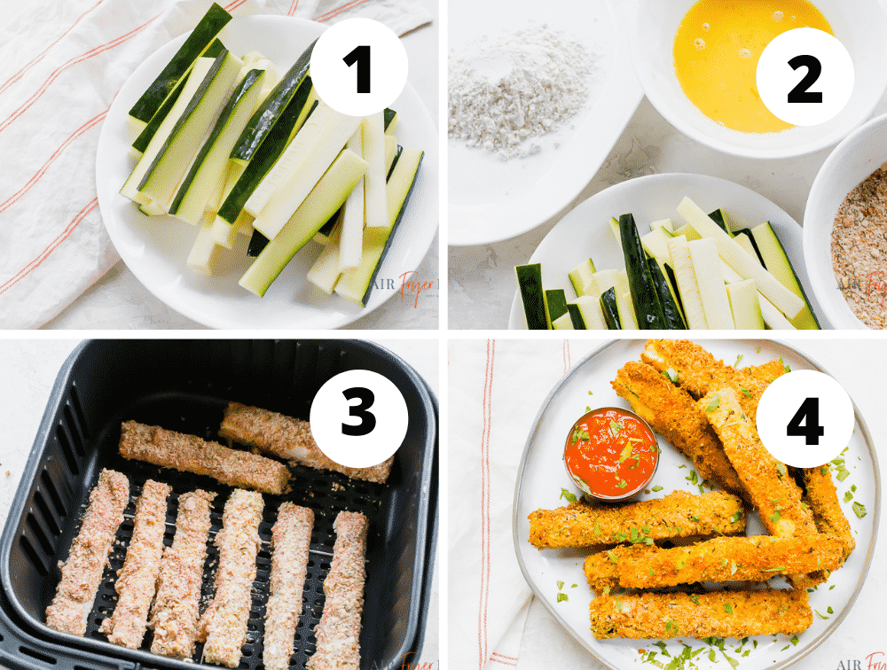 steps to make air fryer zucchini fries