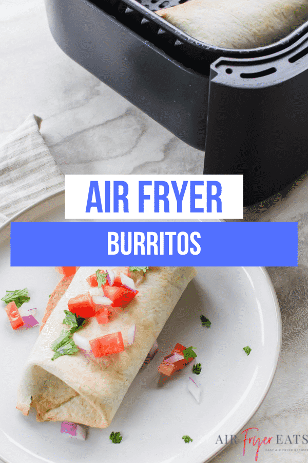 burrito on a plate next to an air fryer.