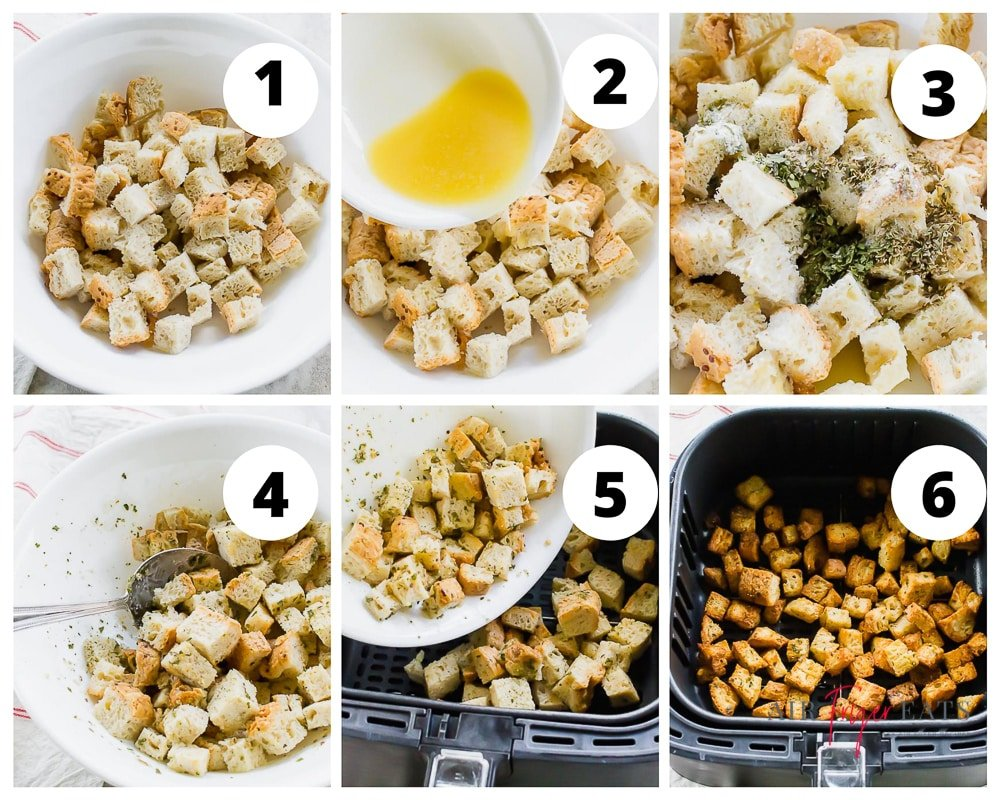 steps to make croutons in the air fryer