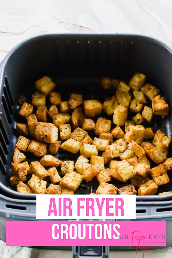 Air Fryer Croutons are the crispiest! With just a few spices and a little butter, these homemade croutons are done in less than 10 minutes. #airfryer #croutons #soup #salad via @vegetarianmamma