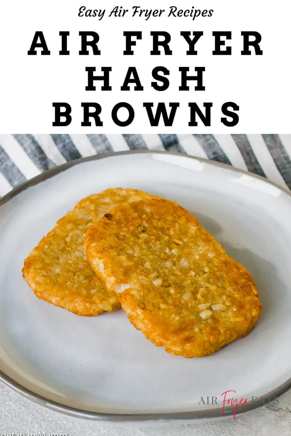 Air Fryer Hash Browns go from frozen to read in less than 20 minutes! These super crispy breakfast potatoes are perfect for a morning on-the-go and cook while you get ready for the day. #hashbrowns #breakfast #easy via @vegetarianmamma