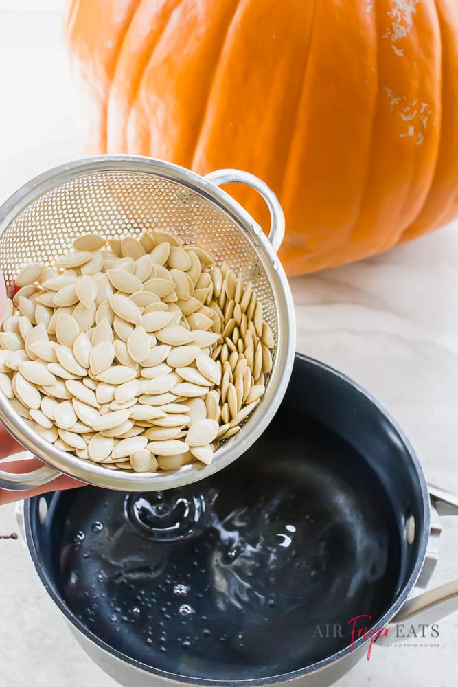 vertical picture of pumpkin seeds in a steel strainer being poured into a black pot with water