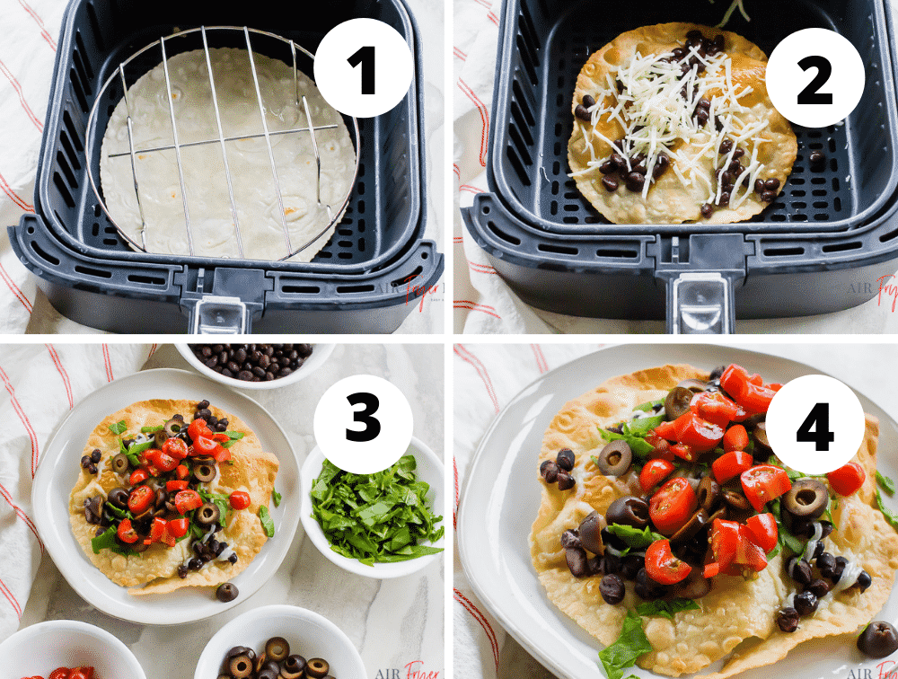 steps to make vegetarian tostadas in the air fryer