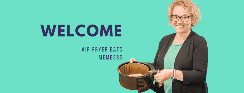 rounded picture of Cindy Gordon holding a black air fryer basket. The background is a teal green with the words: welcome air fryer eats members