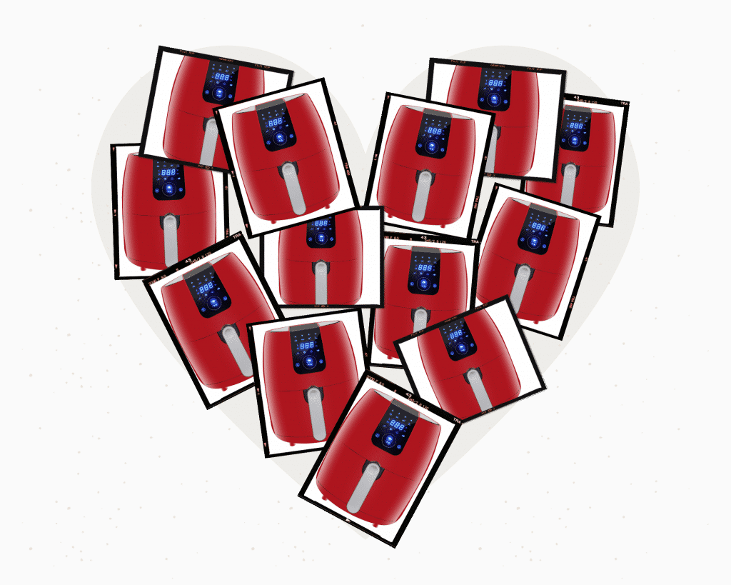 photo collage of red air fryers in the shape of a heart