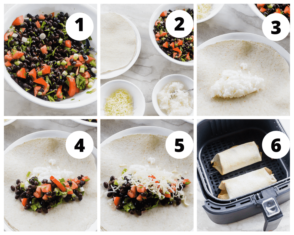 photo collage of six steps for making air fryer burritos.