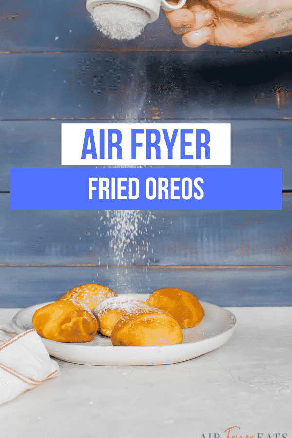 Air Fried Oreos are a healthier version of your favorite fair food! Just 3 ingredients and 5 minutes needed to make this quick and easy #vegandessert. #airfryerdessert #quickdessert via @vegetarianmamma