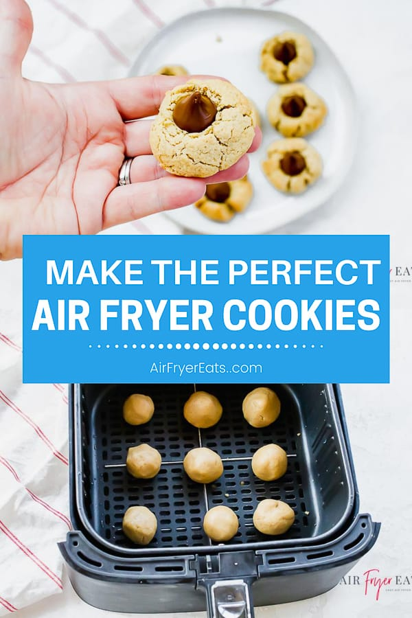 Air Fryer Peanut Butter Blossom Cookies are a delicious traditional cookie that is perfect for a holiday or for any time of year. Make these cookies in the air fryer in 7 minutes! #airfryer #peanutbuttercookies #christmascookies via @vegetarianmamma