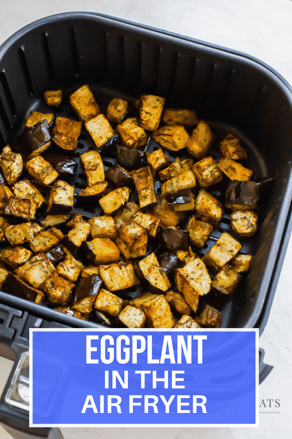Preparing Air Fryer Eggplant is much easier than you might think! This often overlooked vegetable, with the right seasonings, will be a welcome addition to your side dish rotation. #airfryer #eggplant #sidedish via @vegetarianmamma