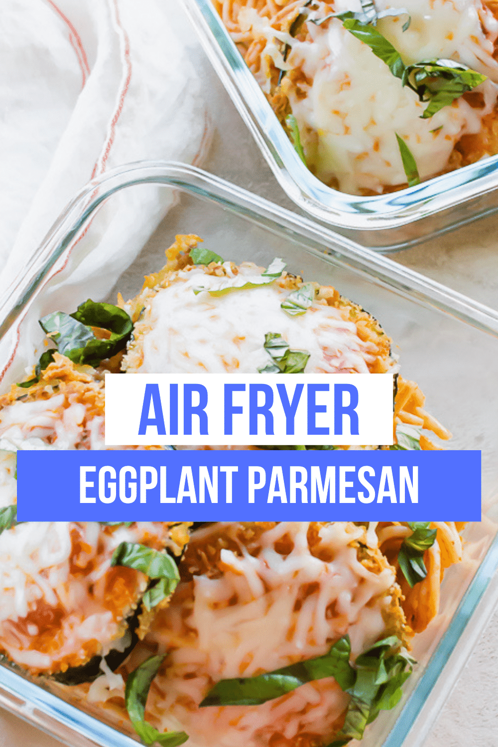 Airfryer eggplant parmesan is a classic vegetarian italian dinner that you can make with less oil and less mess by using your air fryer. Crispy on the outside and perfectly tender on the inside, you'll love this recipe. #Airfyer #eggplant via @vegetarianmamma